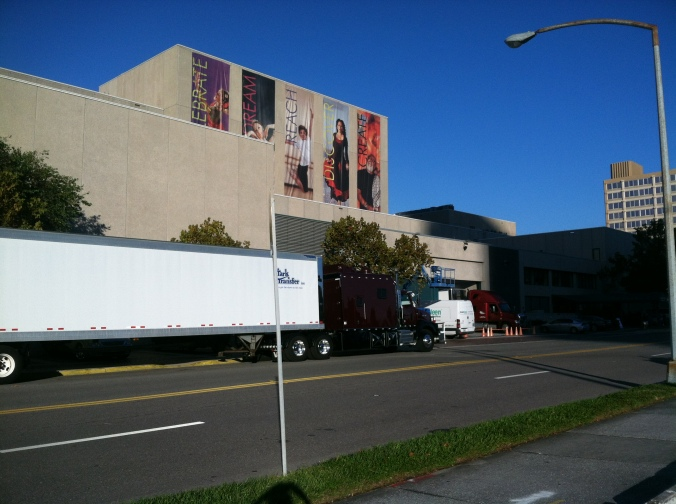 Two trucks arrive at the Straz Center on the first day of load-in for Cinderella.