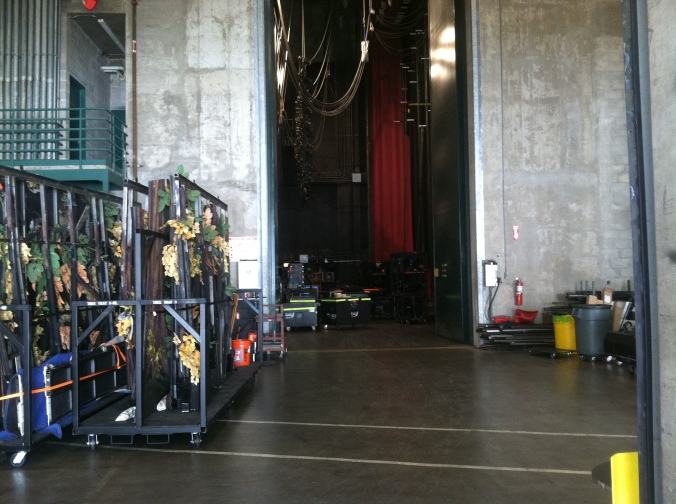 The view from the back of the trucks in the loading dock, and onto Carol Morsani stage. The loading dock at the Straz Center is truck-level and stage-level. This allows for easier load-in and load-out of shows.