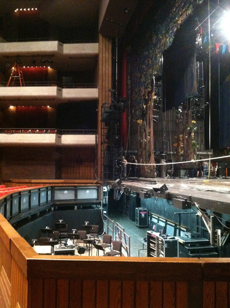 A look into the orchestra pit on day two of load-in for Cinderella.