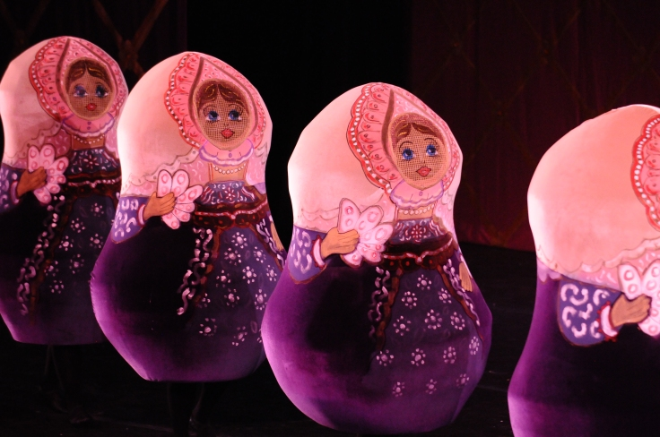 Mother Matryoshkas on Morsani Hall stage at the Straz Center during Next Generation Ballet's Nutcracker.