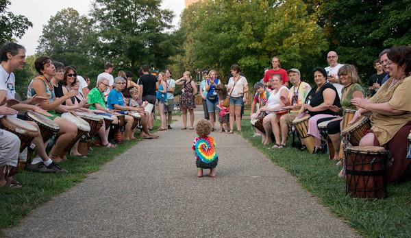 tie dye baby at drum circle