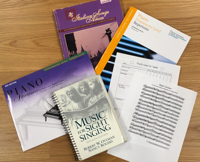 music - method books, scale and arpeggio sheet, practice sheet